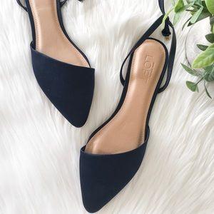 LOFT Shoes - Loft Ankle Strap Navy Flats